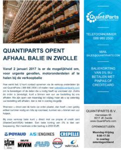 QuantiParts opent een afhaalbalie in Zwolle